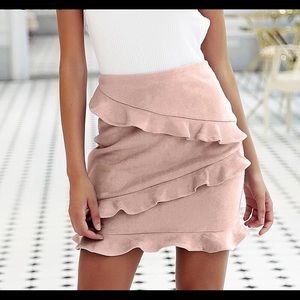 Gigi Blush Pink Sexy Slim Fit Ruffle Skirt